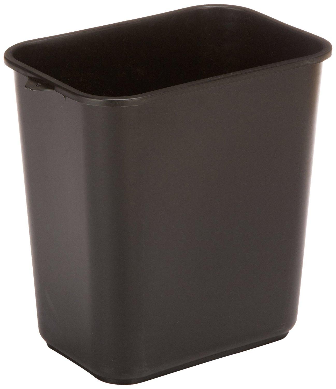 "Impact 7702-5 Pinch'm Plastic Rectangular Soft-Sided Wastebasket, 28 qt Capacity, 14-1/2"" Length x 10-1/2"" Width x 15-1/2"" Height, Black (Case of 12)"