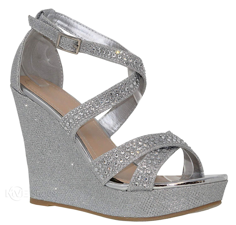 MVE Shoes Women's Strappy Rhinestone Wedges - Open Toe Ankle Strap Platform Sandals - Comfort Summer Platform Wedges