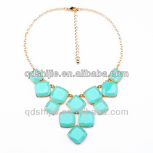 Sky Band Round Blue Stone Necklace