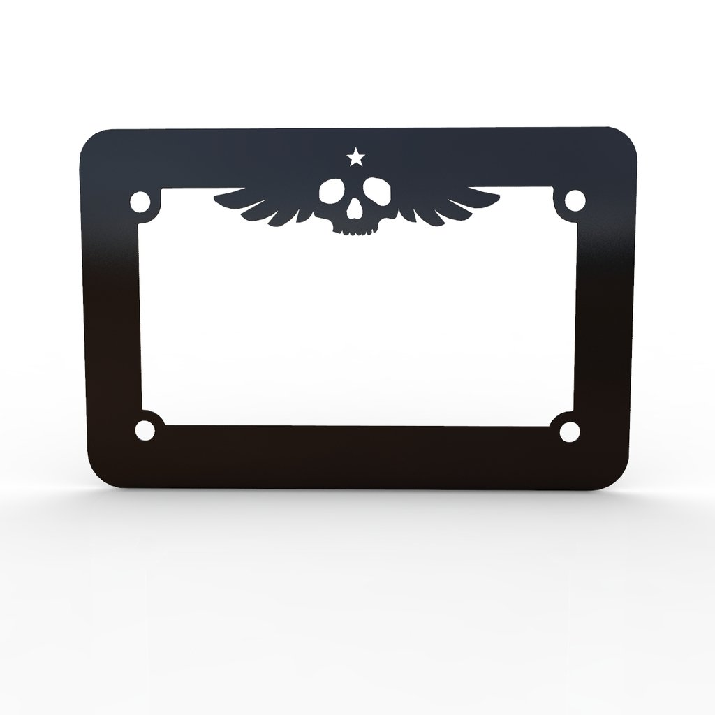 Skull Wings Motorcycle Black Powdercoat License Plate Frame Cover - Ferreus Industries - LIC-164-Black
