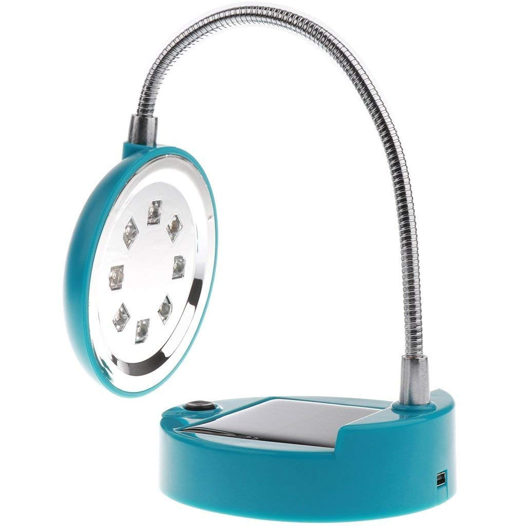 KINGCOO Solar Desk Lamp, Flexible Gooseneck Style 8-LED Mini Solar Table Lamp USB Charger Solar Bulbs Light Solar Indoor Reading lighting/PC Lighting Table Lamp (Blue)