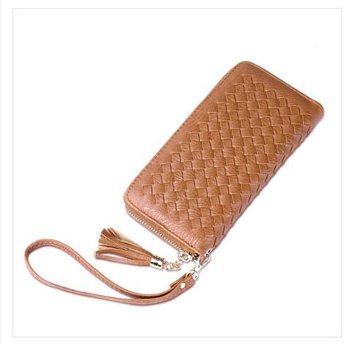 Low price national style ladies single zip long PU money cell phone 3lays wallet