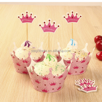 Pink Princess Crown Cake Toppers Picks Baby Girl Party Birthday Decorations Supplies Shower Cupcake Wrappers