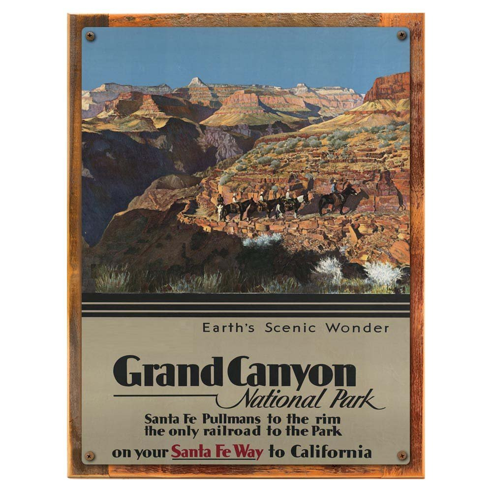 Wood-Framed Canyon Trail Postcard Sign, Vintage Travel Postcard Highlighting Traditional ... on reclaimed, rustic wood