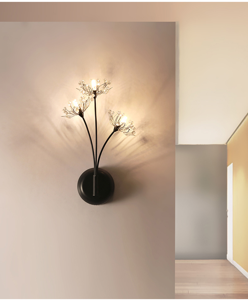fancy indoor designer decorative modern crystal wall light