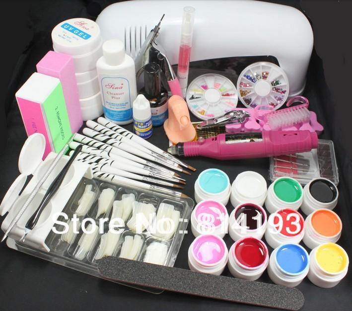 Free Shipping Professional Nail Art Kit Color Uv Gel Full