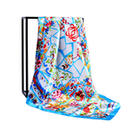 Chiffon Satin Scarf Custom Printing Women Fashion Soft Large Square Polyester Set Head Neck