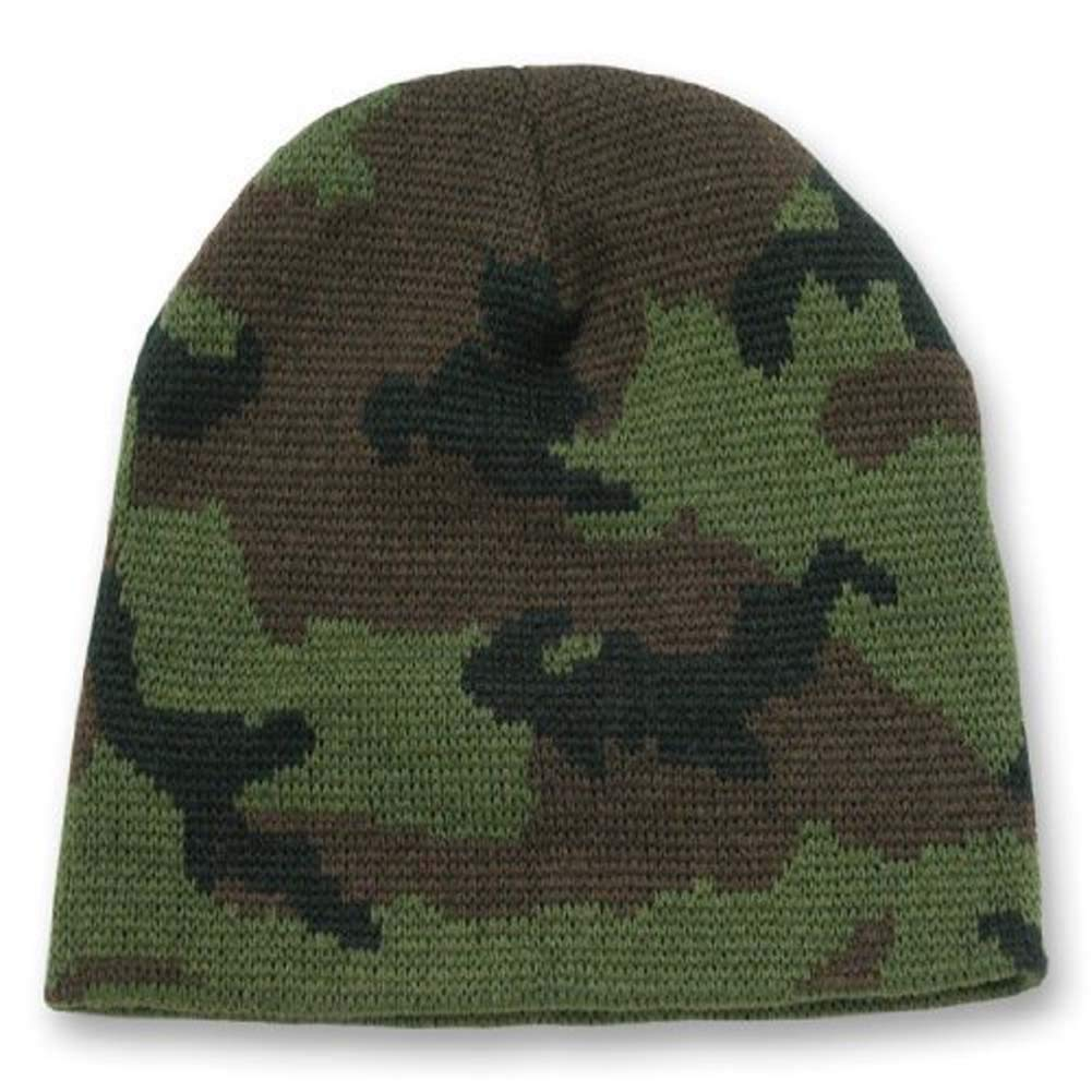 Get Quotations · Knit Woodland Camo Short Beanie - Winter Wear Sports -  Green d60e2ed8fa6