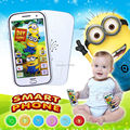English language Minions touch screen smart phone with music and light educational learning machine plastic toy
