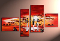 African culture group art 4 pieces oil painting