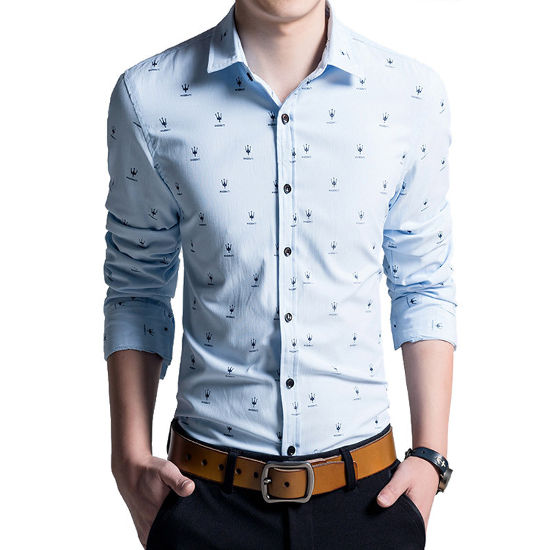 11826f87f9c 2015 New Arrival Men s Dress Shirts Fashion Brand Stylish Print Long Sleeve  Cotton Slim Fit Men