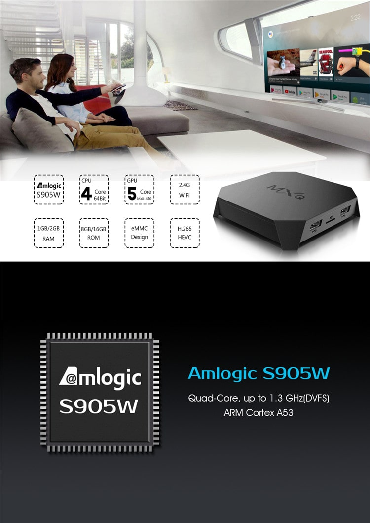 China Suppliers Voice Command Tv Box Amlogic S905W Quad Core 4K 2+16Gb Mxq U2 Plus Iptv Set Top Box