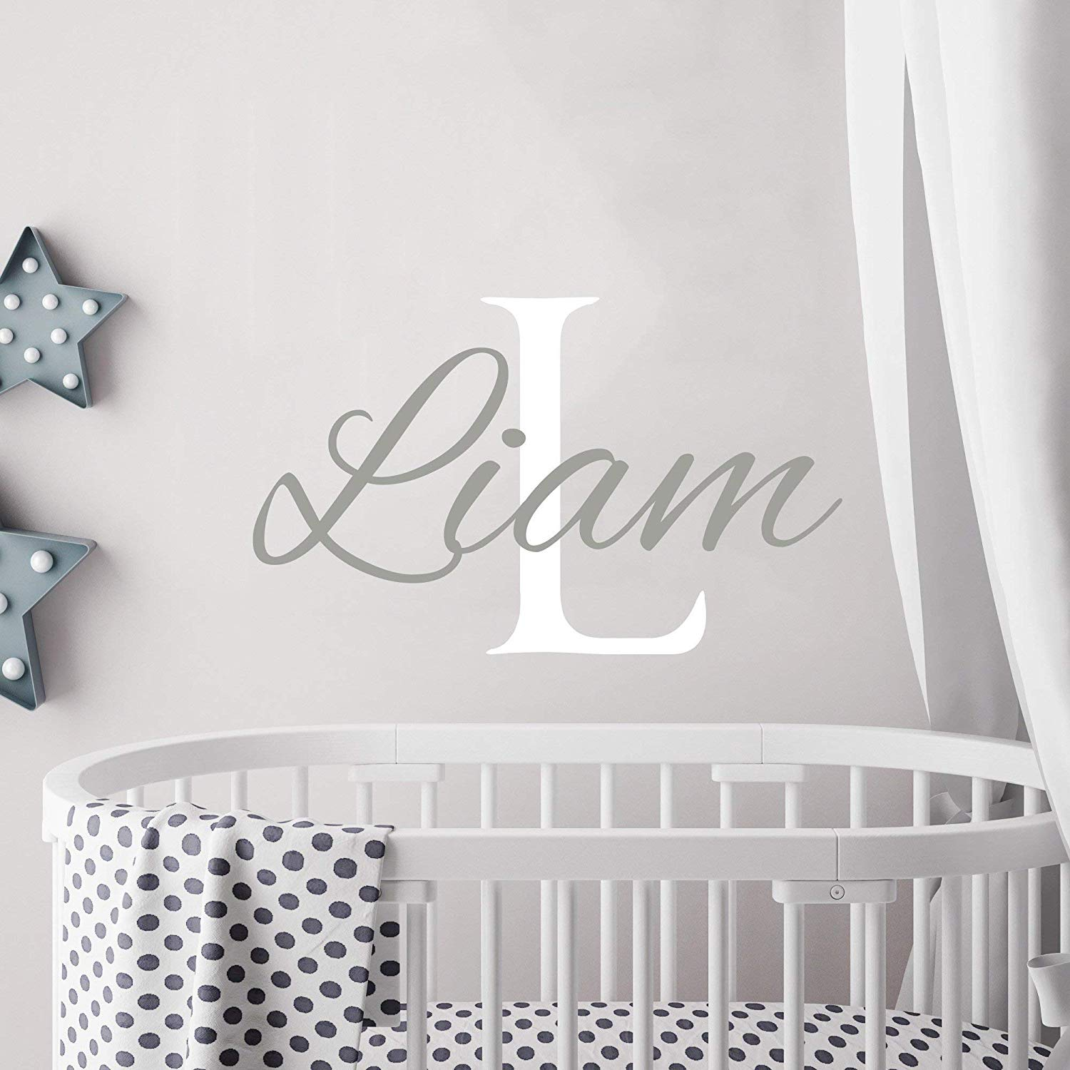 Personalized Boy Name Wall Decal Initial Boys Name Decals Nursery Decor Baby Boy Wall Decal Name Decal Boys Room Decor Custom Name Sticker kp8