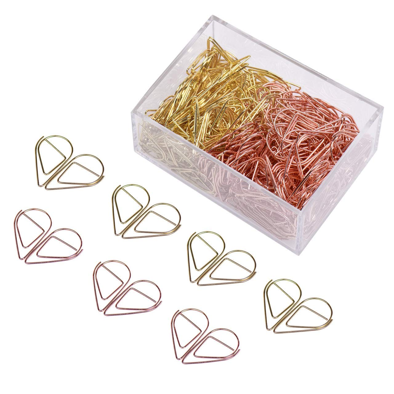 Eyourlife 300 Pieces Premium Cute Paperclips, Water Drop-Shaped Stainless Stell Wire Paper Clips, Lovely Office Supplies Decorations (1 inch)(Gold & Rose Gold)