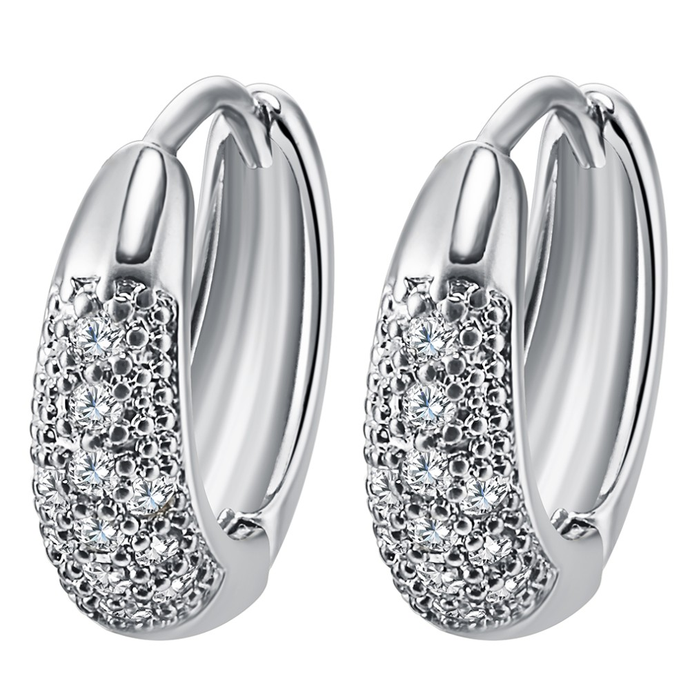 14k Gold Beauy Wedding Earrings Filled Inlay Round Clear Cubic Zirconia Small Hoop For Women S