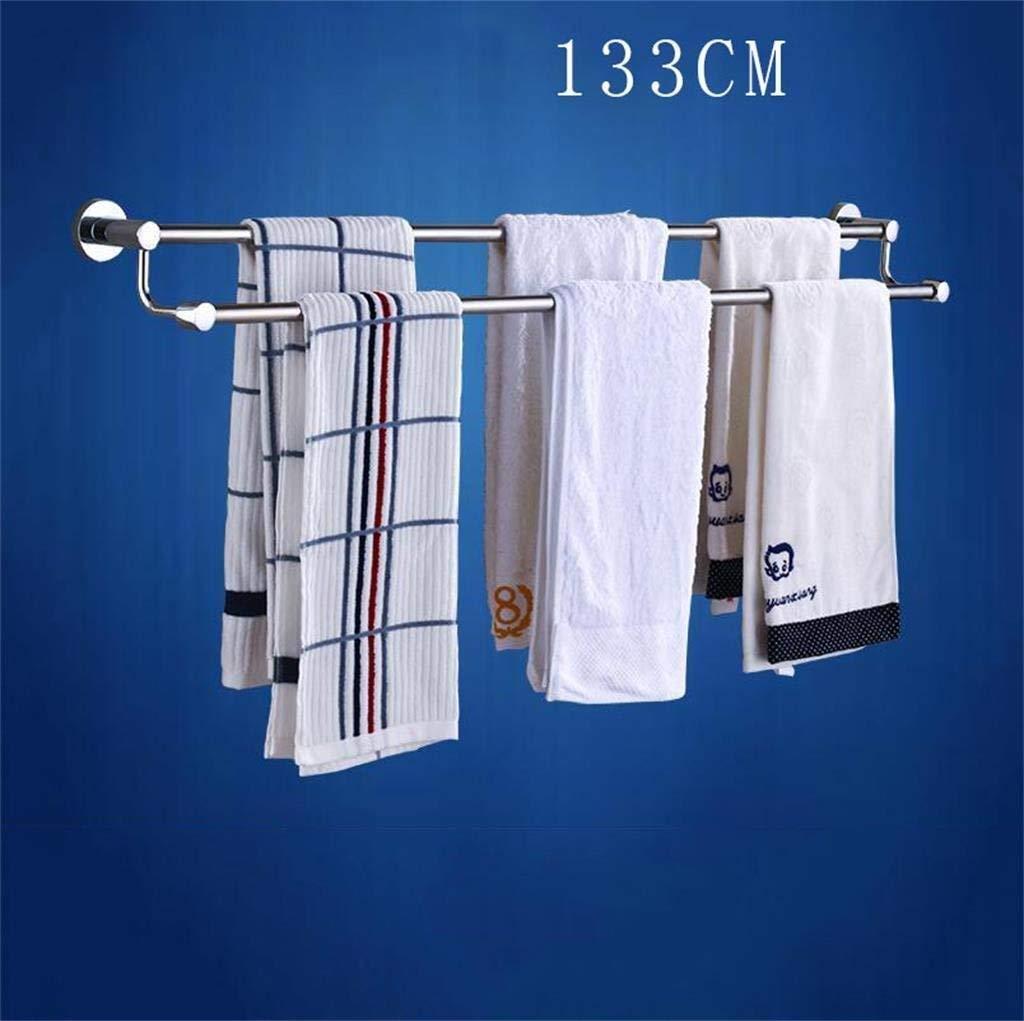 EQEQ Bathroom Shelving 304 Stainless Steel Towel Rack Double Bar Extended Bath Rooms 83-163 cm of Bath Towel Racks Trailer Metal Rooms Included (Size: 123Cm).
