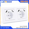 EU standard Tel/Computer/SCHUKO/TV/SAT/FRENCH wall socket 2 gang wall outlet with 4 usb