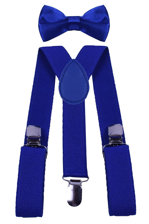 BODY STRENTH Kids Suspenders and Bow Tie Set Elastic Adjustable