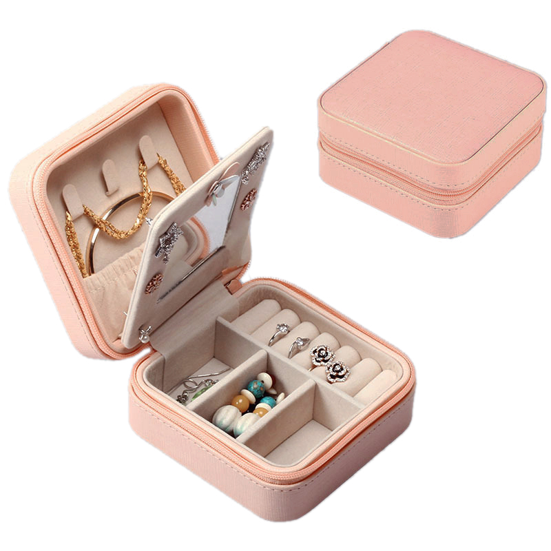 Manufacture Custom Portable Jewelry Box Small Pu Leather Travel Jewelry Storage Case Organizer With Mirror
