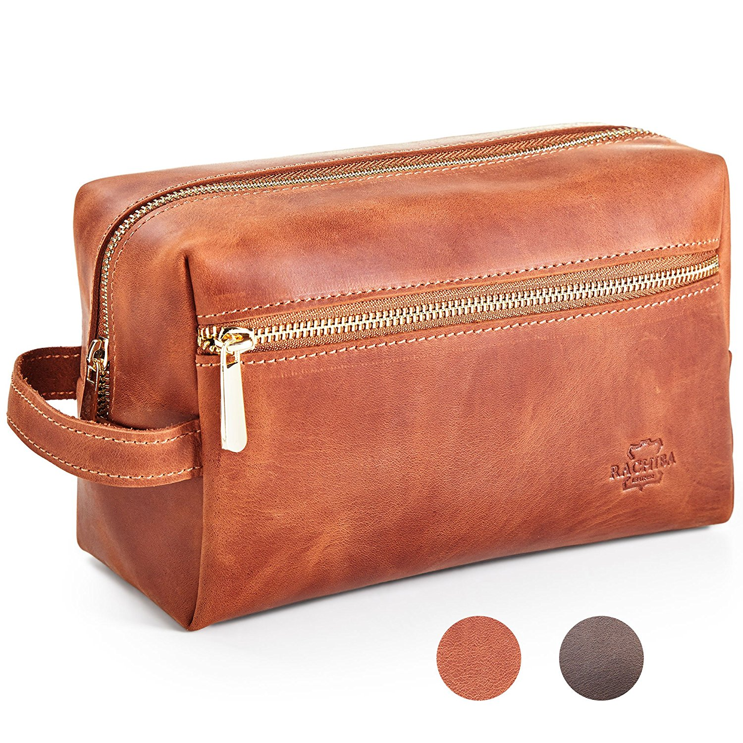 Get Quotations · Leather Toiletry Bag Dopp Kit by Rachiba - Mens Leather  Toiletry Bag d9cbf47a33315