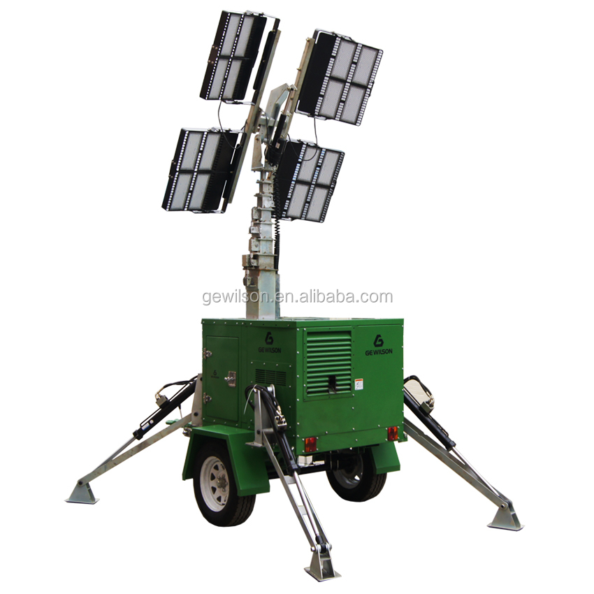 12m Trailer Mounted Hydraulic Mast Portable LED Light Tower For Army Night Lighting