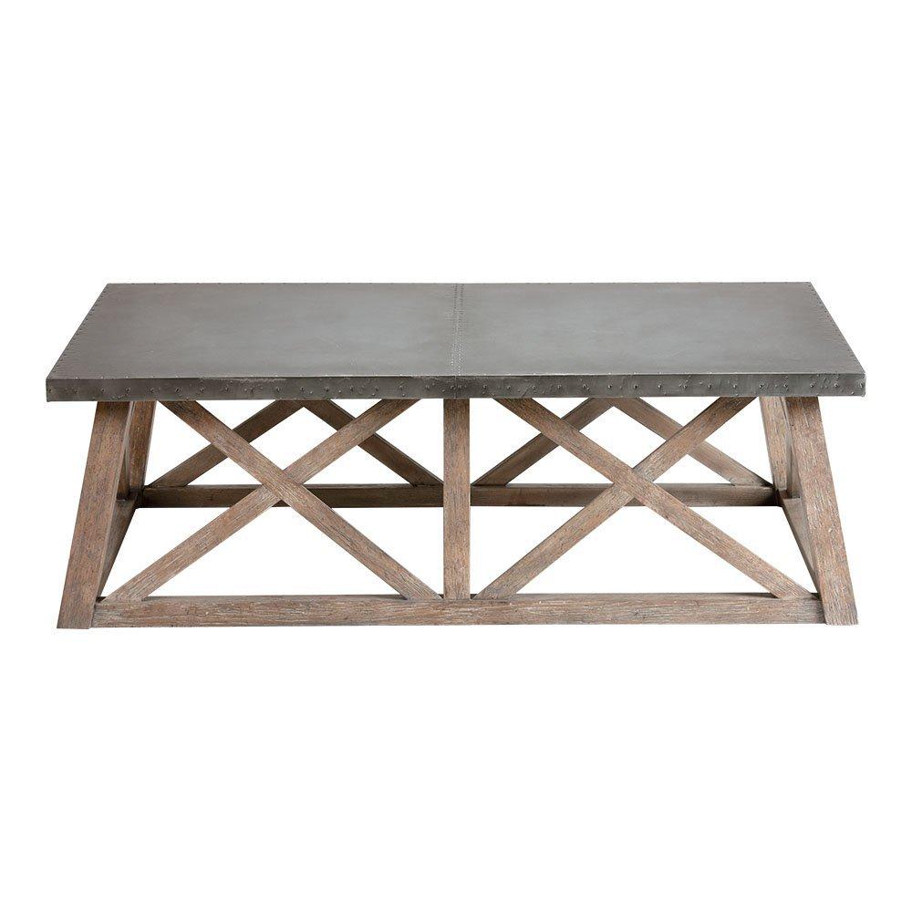 Ethan Allen Bruckner Metal-Top Coffee Table, Millstone