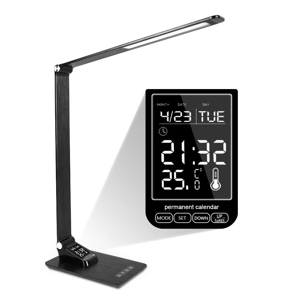Donewin Adjustable LED Desk Lamp,LCD Screen&Date&Time&Alarm&Temperature,USB Charging Port,Eye-Caring,Touch Control,Office Lamp,3 Lighting Modes&5 Brightness Levels,Black,7W