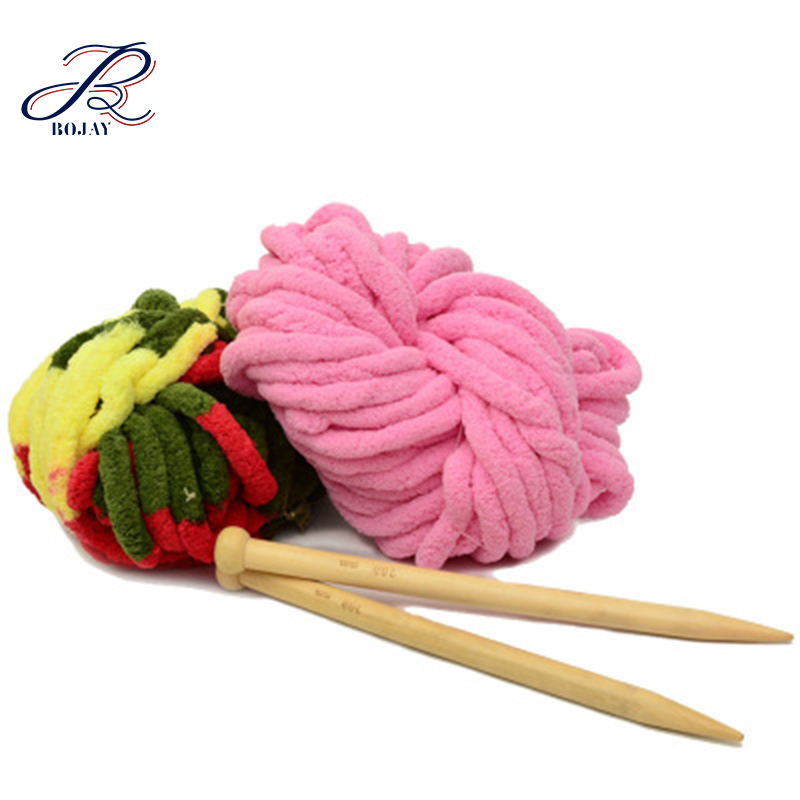 Bojay High Quality Wholesale Chunky Arm Knitting Bulky Yarn Vegan 100% Polyester Velvet Chenille yarn