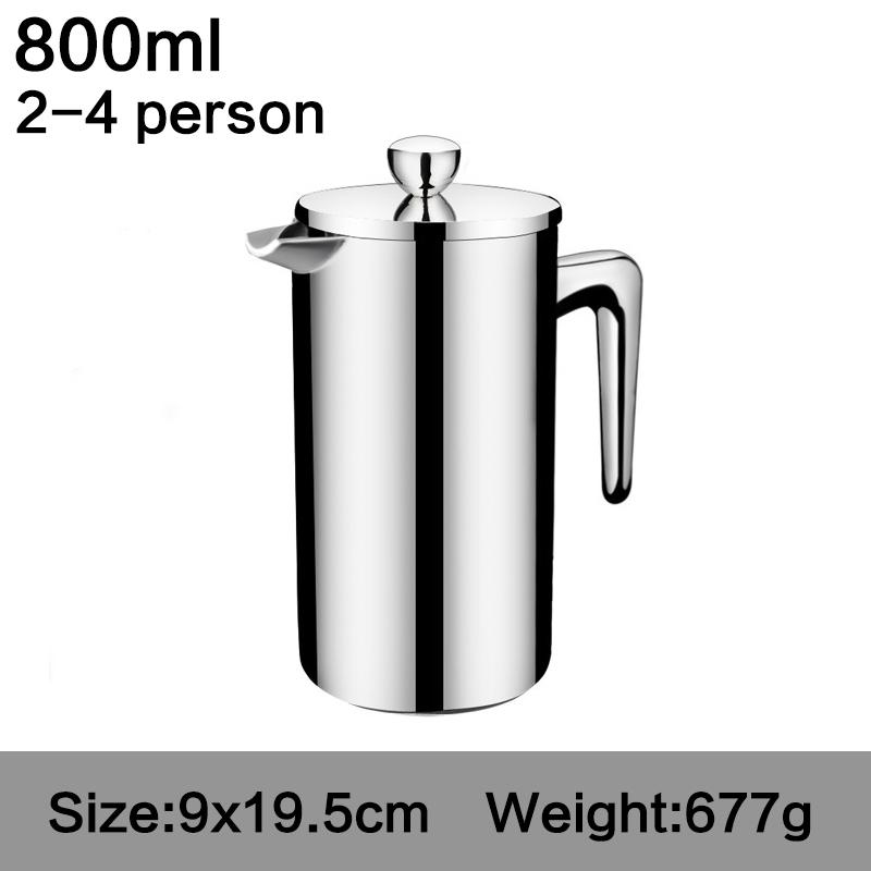 ROKENE Нержавеющая сталь Французский пресс для кофе перколаторы для кофе двухслойная конструкция кофе пресс 3 шт. подарки(Китай)