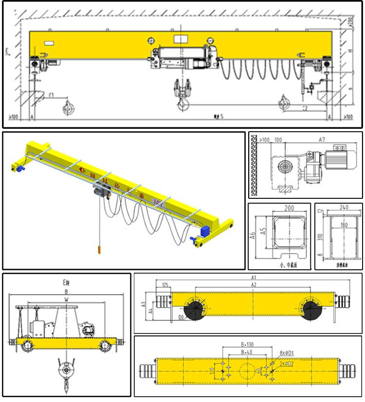 Overhead Cranes Dimensions : Overhead crane dimensions kuangyuan harga hoist ton
