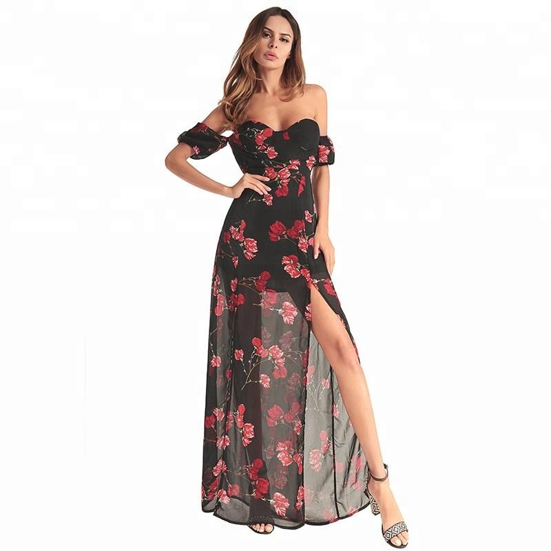 Best selling women sexy printing irregular high split chiffon casual <strong>dress</strong>