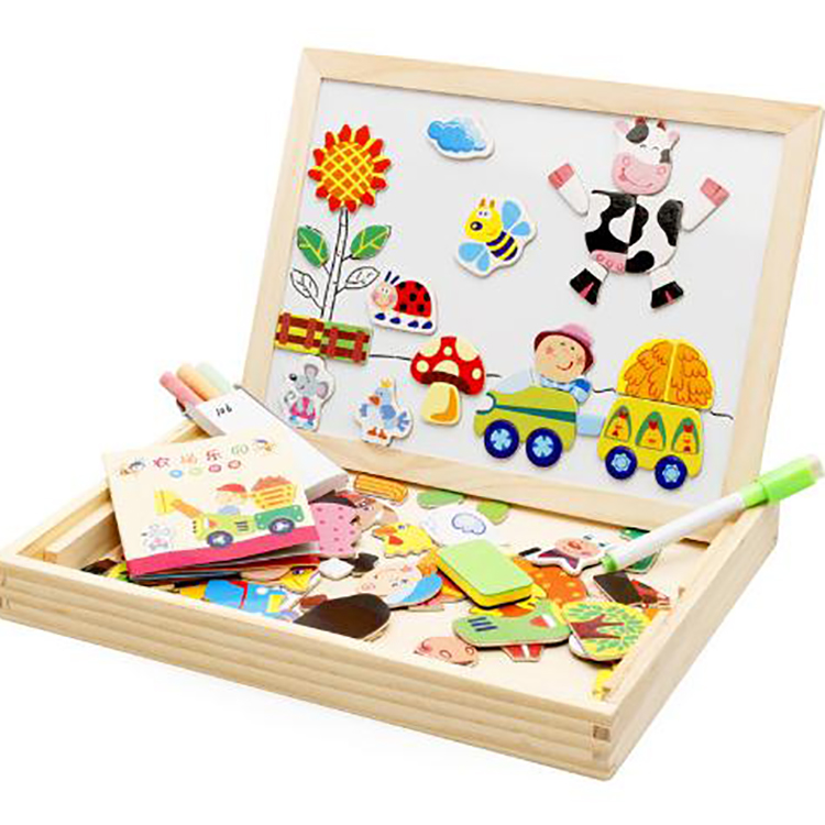 Amazon Hot Sale Kids Magnetic Art Easel Animal Puzzle Game Wooden Educational Toy For Montessori