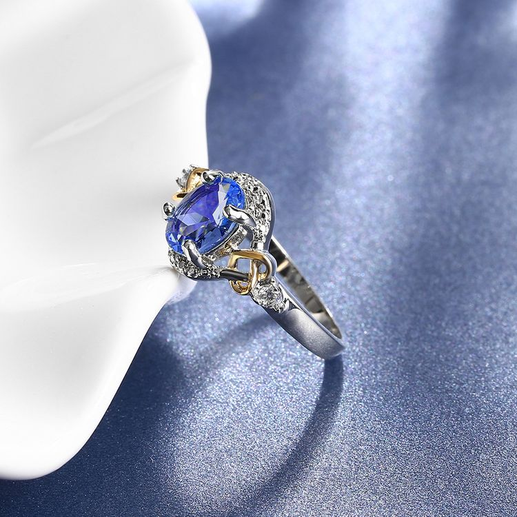 2019 New Arrival 3 Stone Engagement Design Blue Sapphire Diamond Wedding Ring