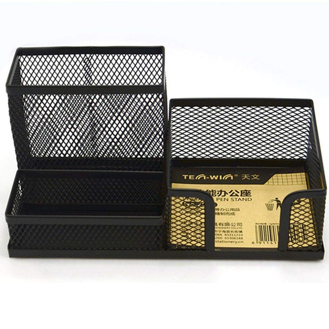 Weite Anti-Rust Metal Pen Holder, Convenient 4 Compartments Mesh Office Desk Organizer Caddy Large Office Accessories Storage Tool (Black)