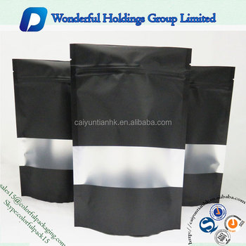 Matt Finish Bag With Clear Window Ziplock Black Stand Up Pouch Custom Printed Resealable Bags