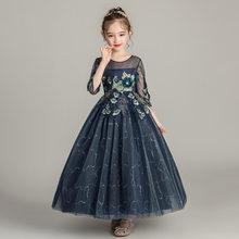 Великолепное платье с блестками и цветами для маленьких девочек, праздничные вечерние платья для детей, платье-пачка принцессы, одежда для ...(Китай)