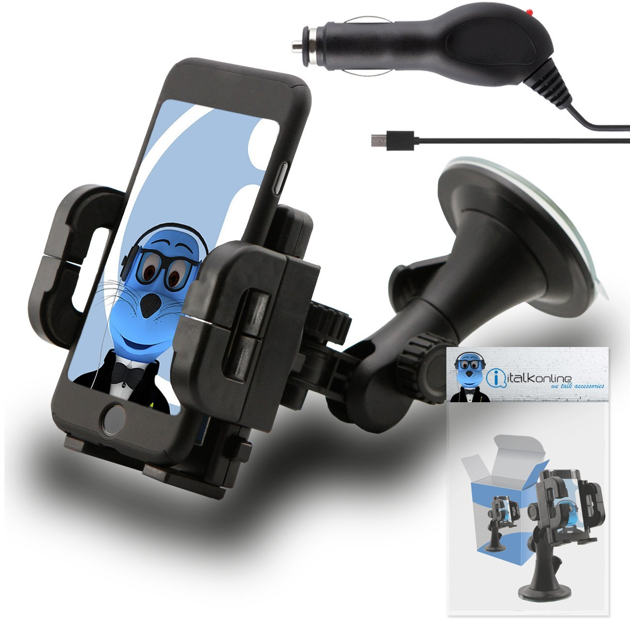 iTALKonline Huawei Ascend Mate 2 4g Black Multi-Directional Dashboard / Windscreen, Case Compatible (Use with or without your existing case!) Clip On Suction Mount In Car Holder with 1000 mAh MicroUSB In Car Charger with LED and overload protection