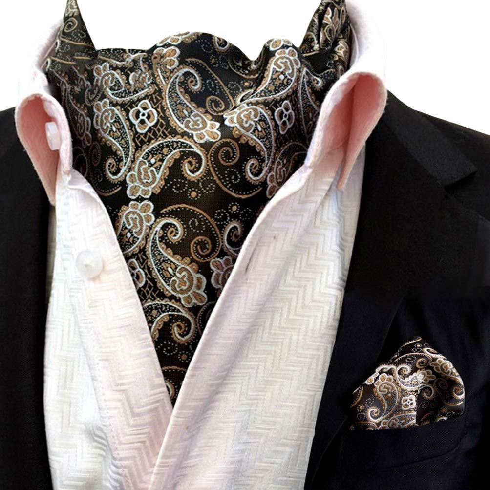 eac657704002a Get Quotations · MOHSLEE Men Silver Paisley Cravat Woven Silk Classic Tie  Ascot Pocket Square Set