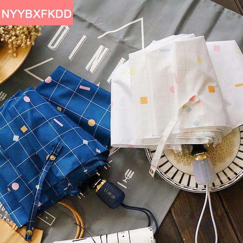 2016 Новый Японский стиль синий/белый плед полностью автоматическая взрослых бренд солнечный/дождливый зонтик зонтик двойной зонтик дождь женщины