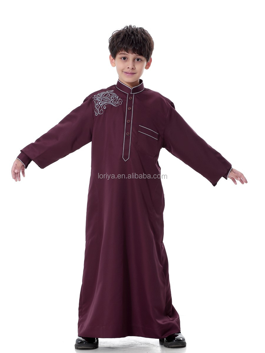 New design wholesale islamic boy wear simple style muslim kids abaya