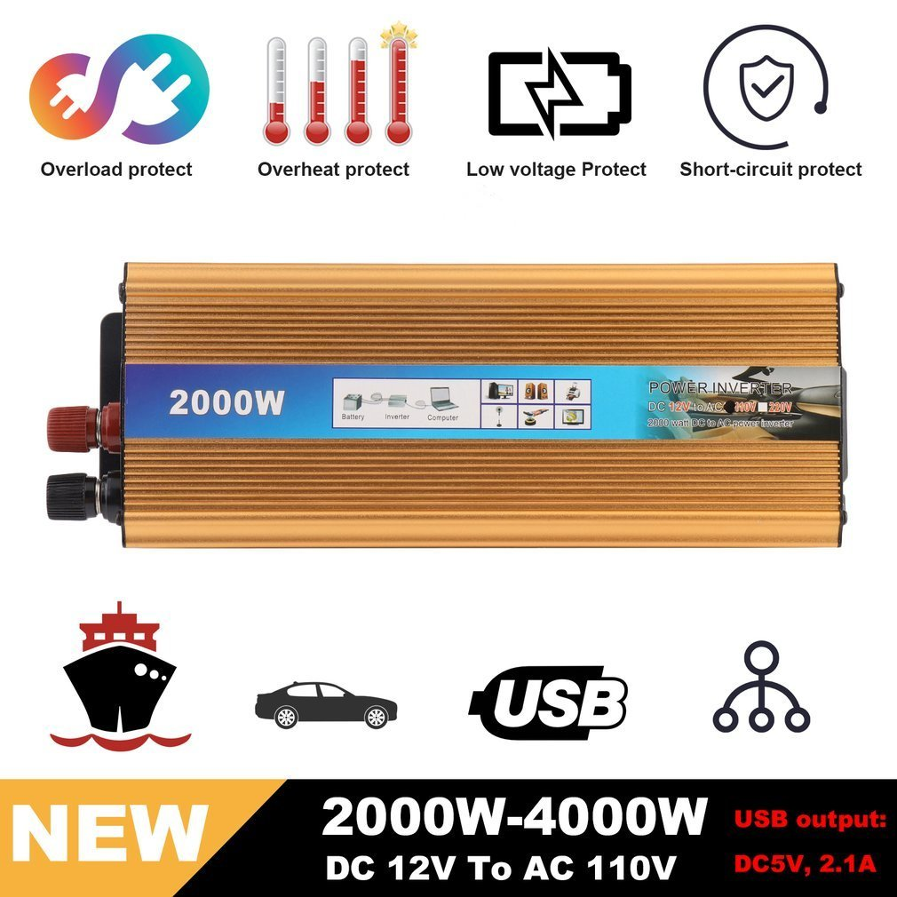 Blackpoolfa 2000W Power Inverter DC 12V to 110V AC Car Inverter with 2.1A USB Car Adapter (Modified Sine Shape, Gold)