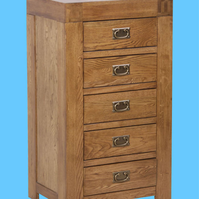 RC Range Solid Oak 5 Drawer Tall Chest/Oak Wood Tall boy Chest Drawers