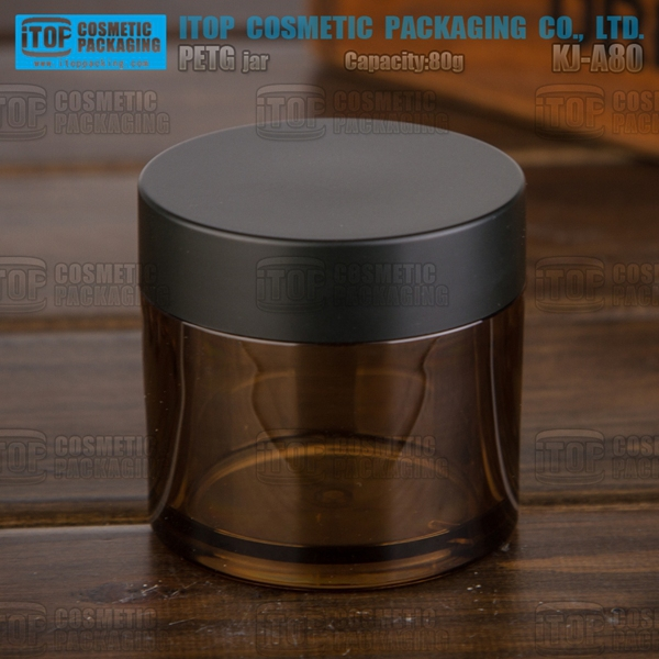 KJ-A80 80g empty color customizable thick PETG material cosmetics amber plastic jar