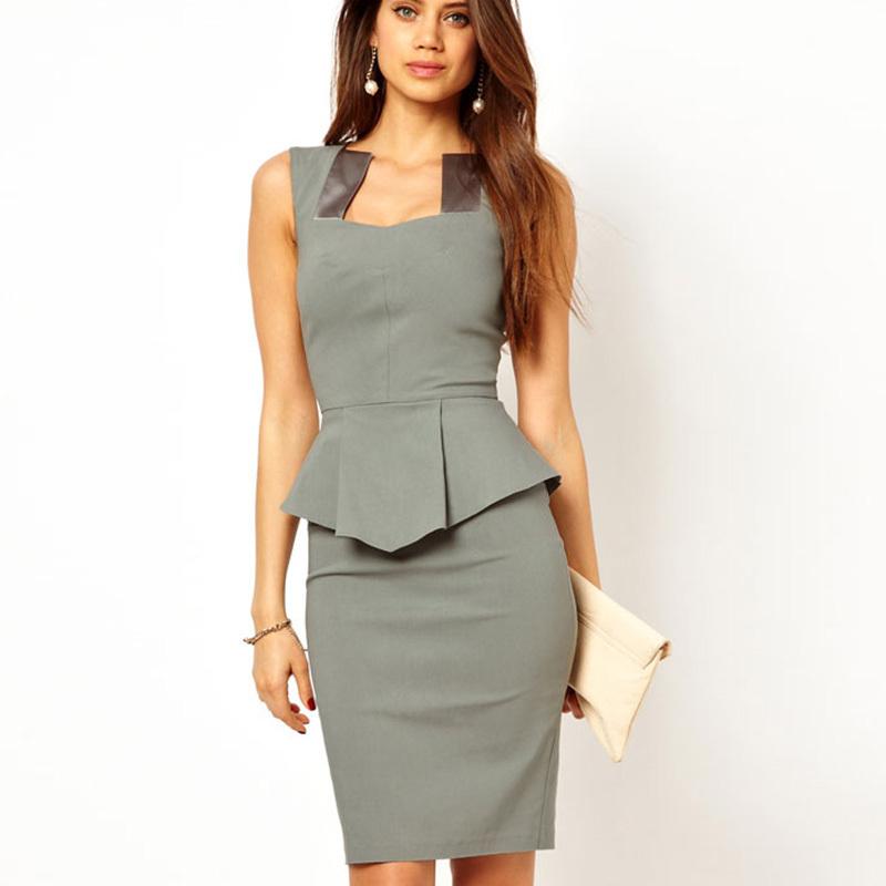 ddcdb5ff371 Get Quotations · 2015 Summer Hot Modern Women Square Neck Gray Midi Peplum  Dress Formal Work Office Business Dress