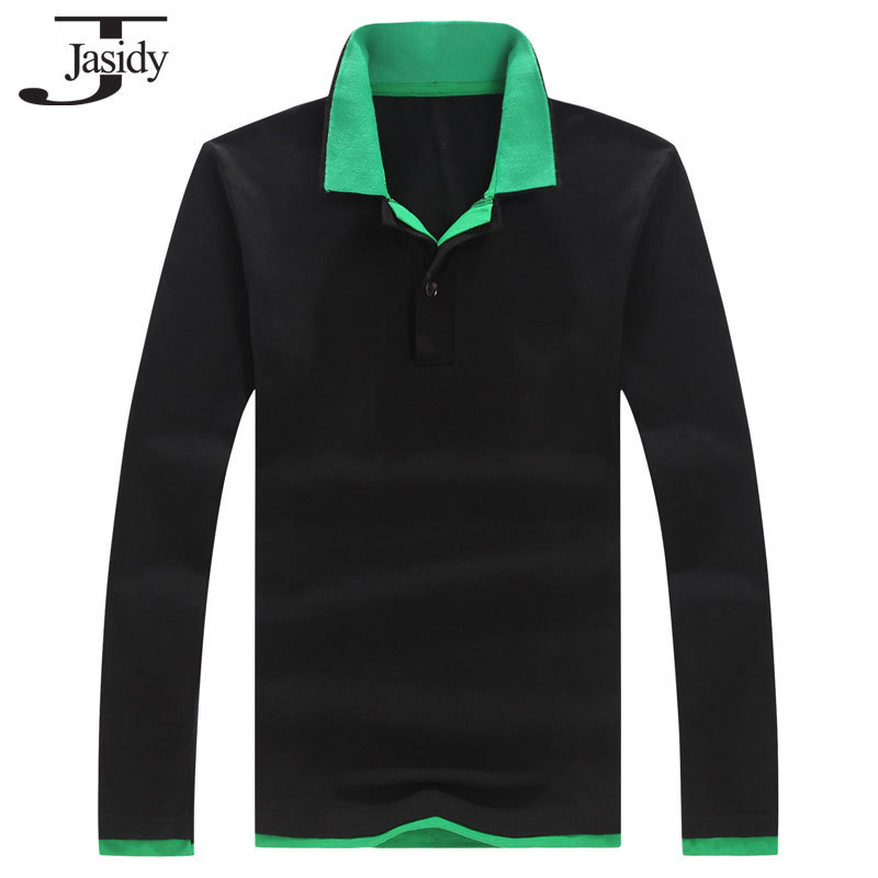 Jasidy5XL Solid Long Sleeve t-shirts men double-deck Turn-down collar shirt cotton Large size Casual mens polo Tshirt T143