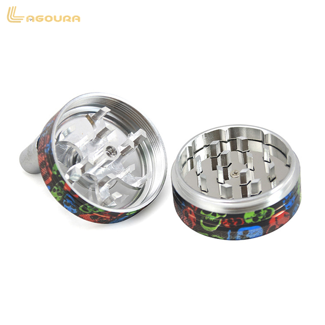 Newest 2 Layers 50MM Color Printer Aluminum Alloy Tobacco Crusher Lightning Shape Portable Herb Spice Grinder