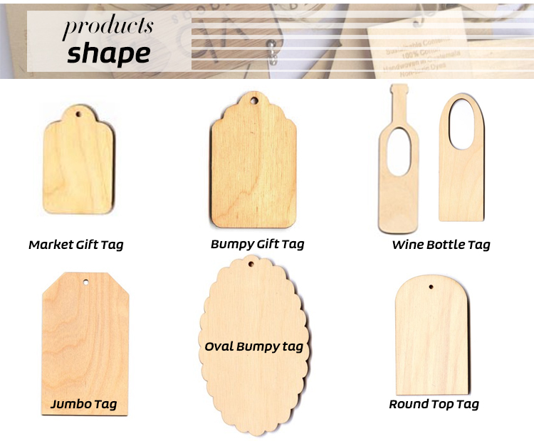 wholesale custom bamboo wooden hang tag  with engraved logo for clothing