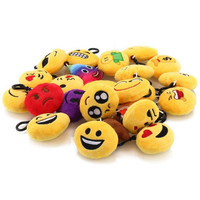 2017 Hot Sale mini Emoji Keychain Cushion Pillows Set Party Supplies/Clawmachine Refill Prizes poop smile kiss