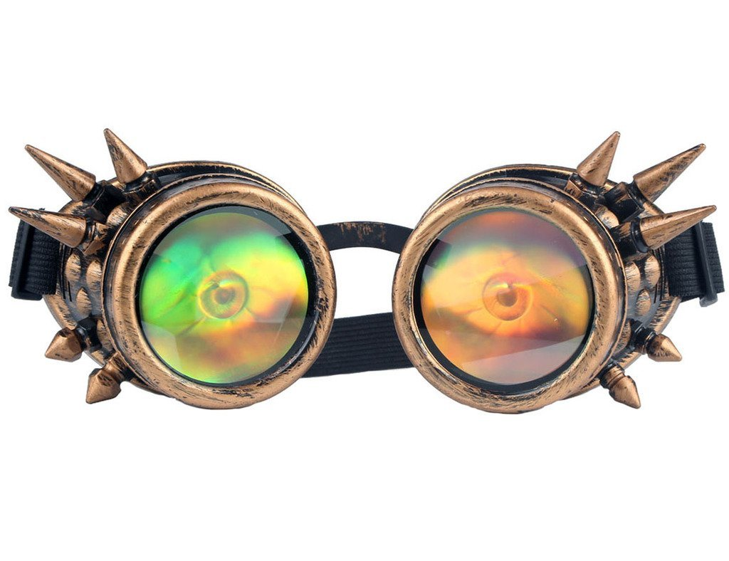 Lelinta 3-5 Days Delivery Halloween Spiked Vintage Steampunk Goggles Glasses Welding Cyber Punk Gothic With Eye Lens