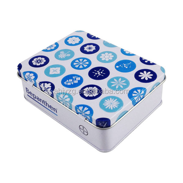 hinged lid nose spray packaging tin container with sponge